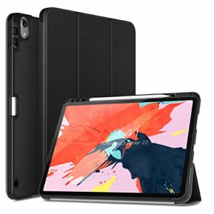 TiMOVO Case Fit iPad Pro 12.9″ 2018 with Pencil Holder [Support Attaches Magnetically to Pair/Charge Function] Smart Case Protector Cover , with Auto Wake/Sleep for iPad Pro 12.9 2018 – Black