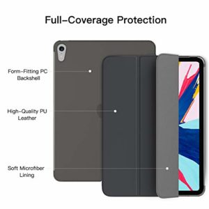 TiMOVO Case Fit iPad Pro 11″ 2018, Smart Case Translucent Frosted Back Protector with Side Opening for Pencil Magnet, Auto Wake/Sleep Trifold Cover Compatible with iPad Pro 11 2018 Tablet – Space Gray