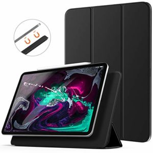 TiMOVO Case Fit iPad Pro 12.9″ 2018, [Support Magnetically Attach Pair/Charge Function] Magnetic Absorption Cover Light Weight Smart Case, Smart Folio Tri-fold Stand, Auto Wake/Sleep – Black