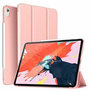 TiMOVO Cover Compatible for iPad Pro 12.9″ 2018 Case, Smart Case Translucent Frosted Back Protector with Side Opening for Pencil Magnet with Auto Wake/Sleep Fit iPad Pro 12.9 2018(3rd Gen)- Rose Gold