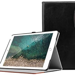 TiMOVO Cover Compatible for iPad 9.7 2018/2017 Case, Smart Case Multi-Angle Viewing Folio Stand Cover with Pocket and Auto Wake/Sleep Function Fit iPad 9.7-inch 2018 & 2017 Tablet, Black/Brown
