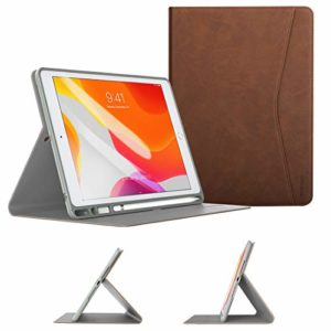 TiMOVO Case for New iPad 7th Generation 10.2″ 2019 with Apple Pencil Holder, Multiple Viewing Angles Leather Folding Folio TPU Back Cover with Auto Wake/Sleep Fit iPad 10.2-inch Retina display – Brown