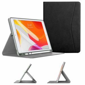 TiMOVO Case for New iPad 7th Generation 10.2″ 2019 with Apple Pencil Holder, Multiple Viewing Angles Leather Folding Folio TPU Back Cover with Auto Wake/Sleep Fit iPad 10.2-inch Retina display – Black
